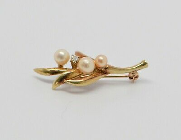 14K Yellow Gold Pearl and Diamond Floral Pin, Circa 1950