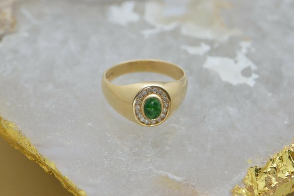 14K Yellow Gold Men's Emerald Diamond Halo Ring Circa 1980, Size 12.25
