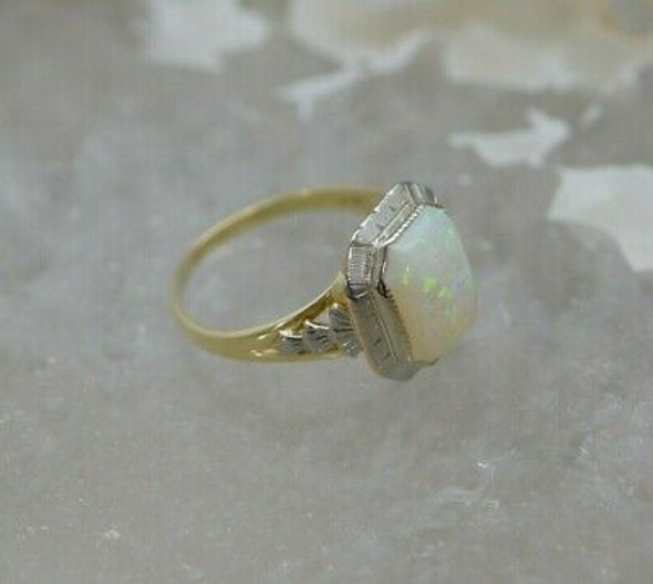 14K Yellow & White Gold Opal Ring, 8 Sided White Gold Top, Circa 1935, Size 5.5
