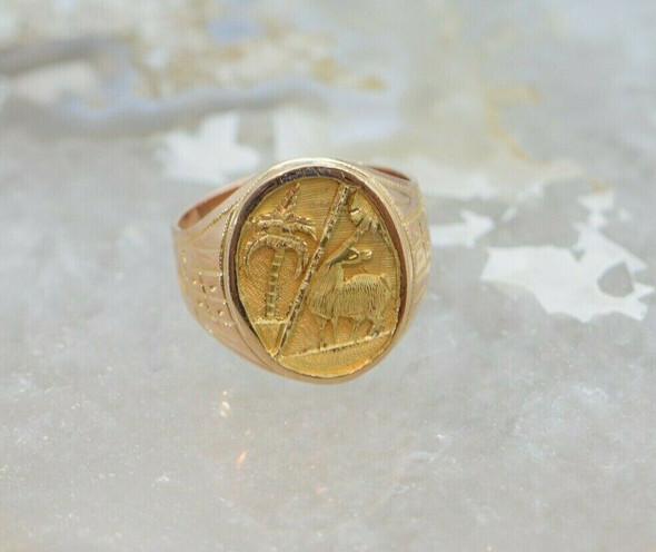 18K Rose and Yellow Men's Gold Llama Ring Circa 1950, Size 12.5
