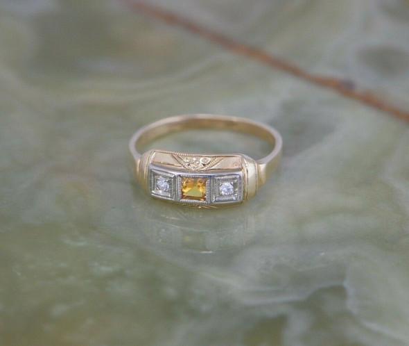 14K YG Diamond & Yellow Sapphire Art Deco Ring, Size 8.25