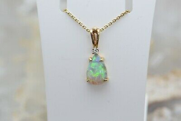"14K Yellow Gold Opal Crystal Teardrop Pendant on Link Chain 15"""