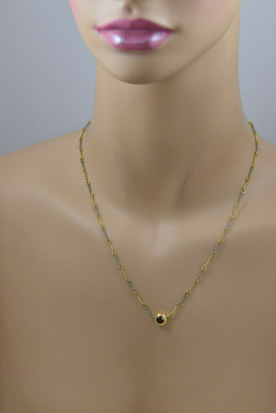 18K White and Yellow Gold Italian Hand Made Chain Rope Twist w/ Garnet Pendant