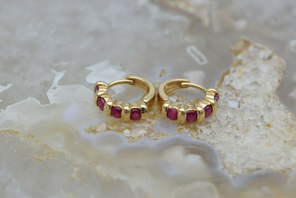 14K Yellow Gold Ruby Hinged Ear Clips