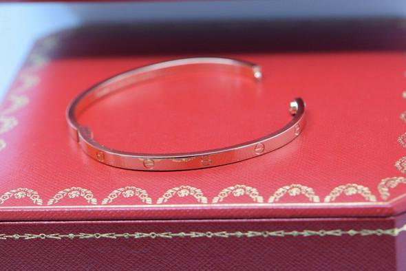 Cartier 18K Rose Gold Love Bracelet Hinged Design