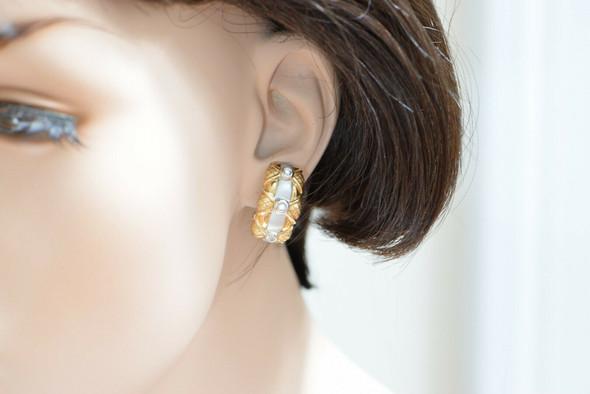 14K White & Yellow Gold French Clip Diamond Set Earrings, Circa 1990, Bezel Set