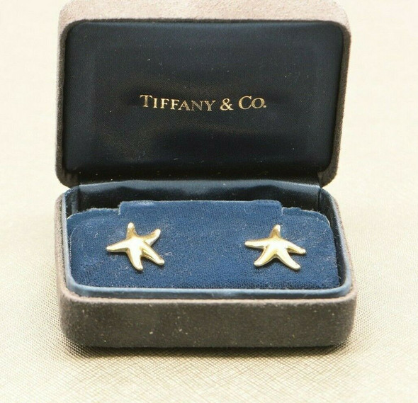18K Yellow Gold Tiffany Starfish Earrings Elsa Peretti Designed