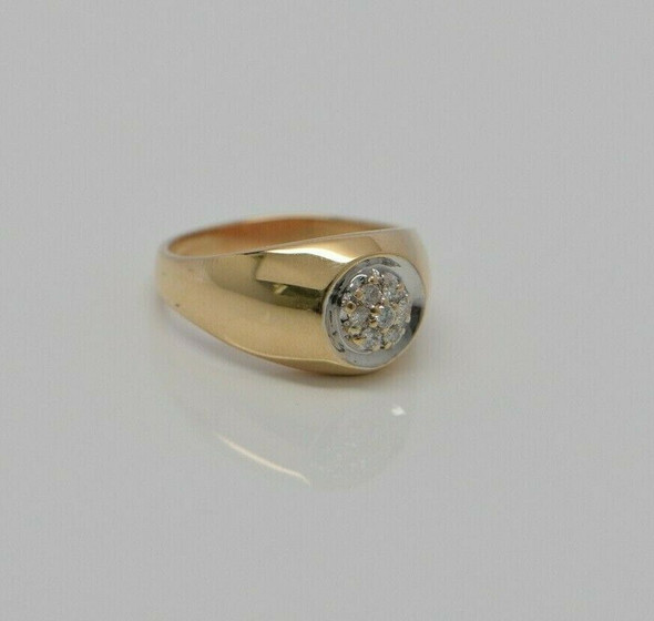 14K Yellow Gold Diamond Ring, Circa 1960, Size 8