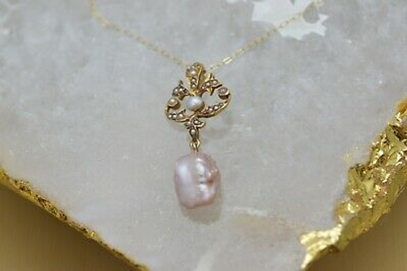 14K Yellow Gold Art Nouveau Pearl Set Necklace Peach Pearl Baroque Drop