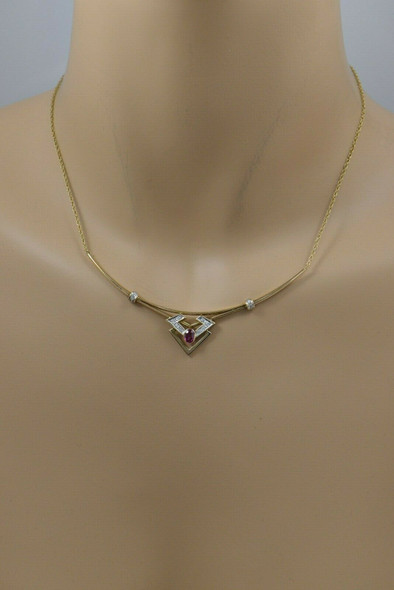 14K Yellow Gold Pink/Red Sapphire and Diamond Collar Necklace, Circa 1990