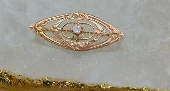 10K Yellow Gold Filigree Diamond set Pin, Marquise shaped, Circa 1950