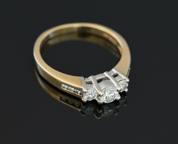 14K Yellow Gold Diamond Engagement Ring 1/2 ct. tw. Circa 1960, Size 6+