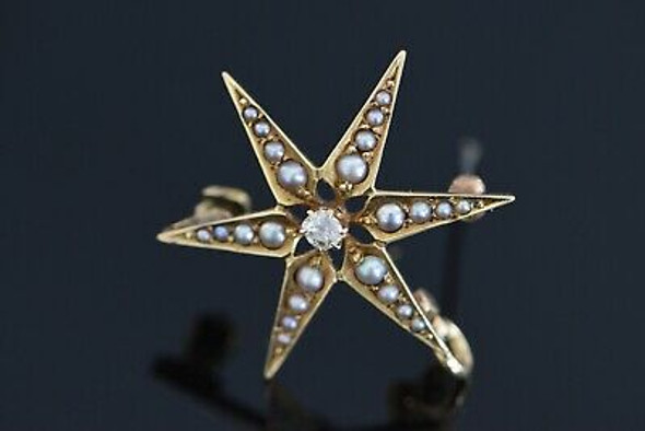 14K Yellow Gold Pearl & Diamond 6 Pointed Star Pin, Pendant Old Mine Cut Center