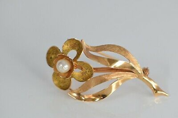 18K Yellow Gold Floral Pearl set Pin, Italian, Circa 1970