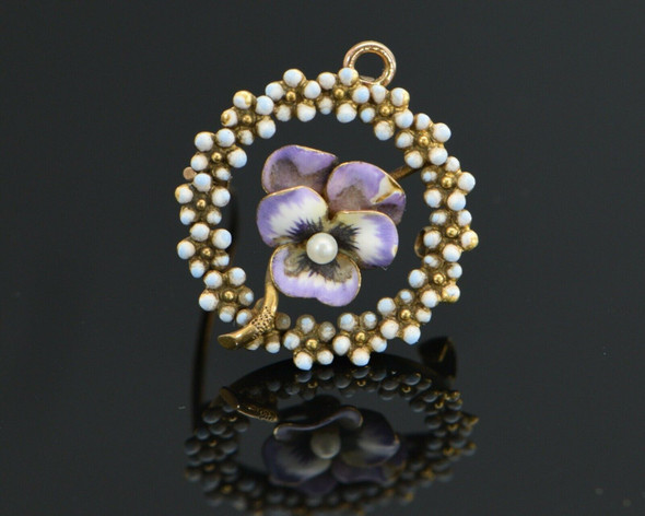 14K Yellow Gold Enamel Pansy Pin, Pearl set in Central Flower, Circa 1900