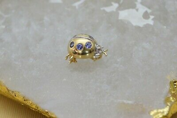 14K Yellow Gold Tanzanite and Diamond Ladybug Pendant or Pin