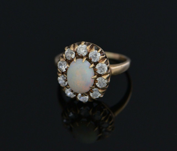 Vintage 10K Yellow Gold Opal and White Stone Halo Ring Circa 1940, Size 6.5
