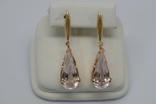 Vintage 14K Yellow Gold Teardrop Crystal Ear Clips, Circa 1940