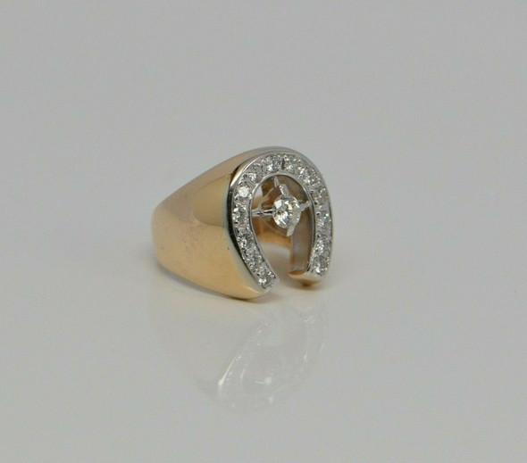 Men's 14K YG Diamond Horseshoe Ring with 14 Diamonds Size 8