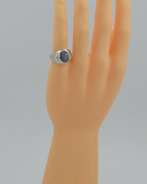 Men's 14K WG Grey Star Sapphire and Diamond Ring Size 8.5