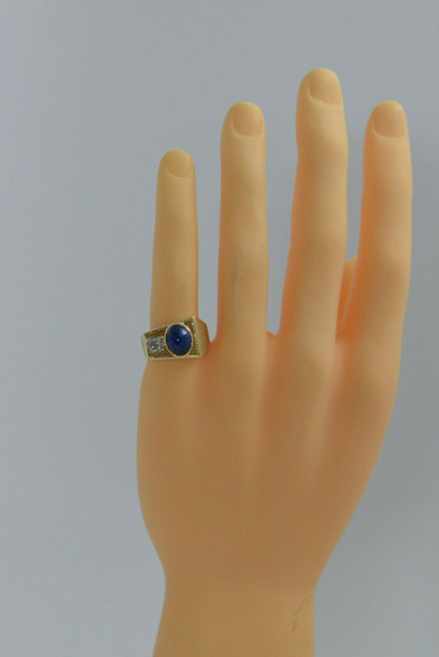 Vintage 14K YG Men's Blue Linde Star Sapphire and Diamond Ring Size 8 Circa 1950
