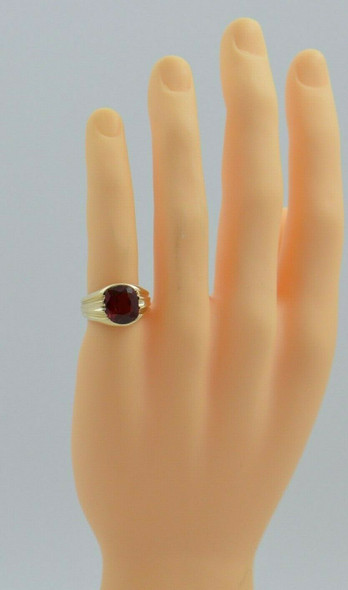 Men's Vintage 10K YG Red Spinel Deco Ring Size 8 Circa 1940
