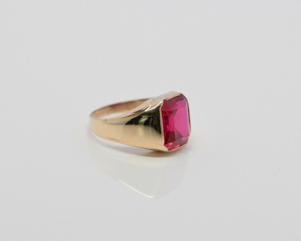 Men's Vintage 10K YG Red Spinel Ring Puffy Form Size 9.25 Circa 1930