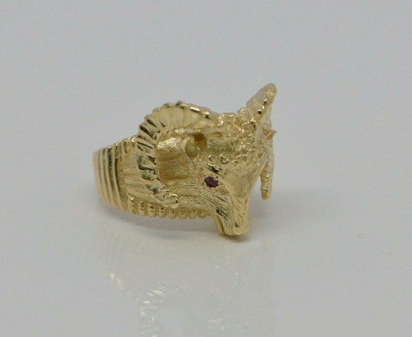 14K Large YG Rams Head Ring with Ruby Eyes Handmade Size 8.75 Circa 1980