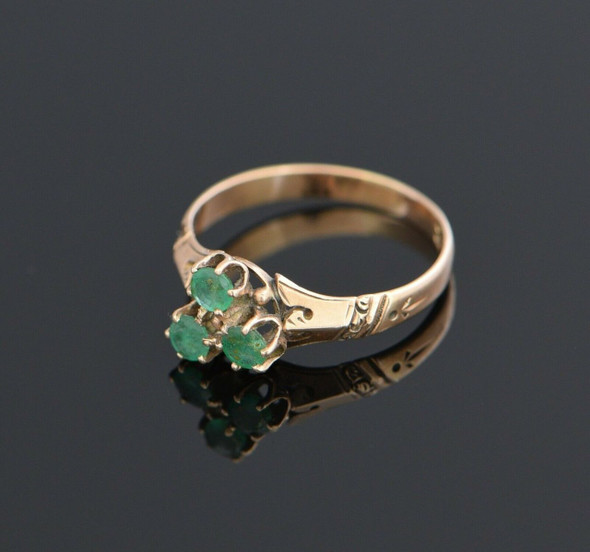 10K Rose Gold Victorian 3 Stone Emerald Ring, Size 6.5