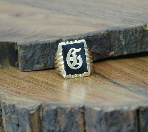 Men's Vintage G Signet Ring with Black Onyx Gothic G Initial Circa 1950 Size 10