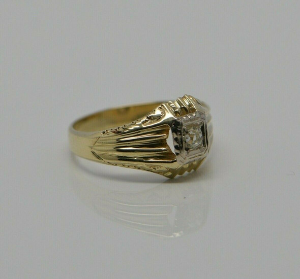 Men's Diamond Art Deco Ring Old Mine Cut Center Stone 14K YG Size 9