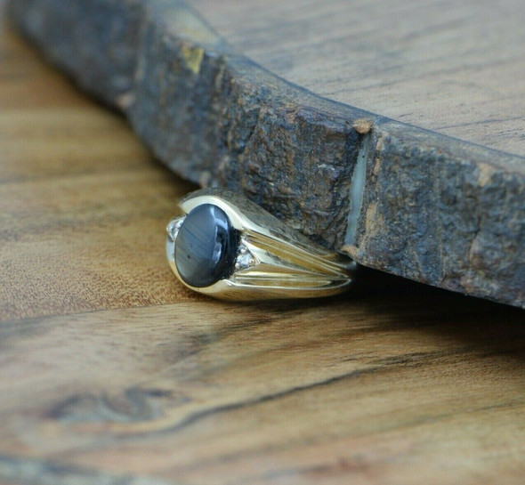 Men's 10K YG Vintage Black Star Sapphire Ring with Diamond Accents Size 10.75