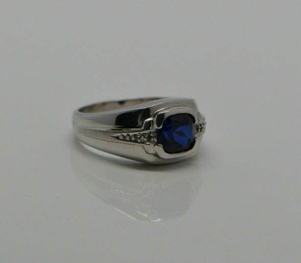 Men's Cushion Cut Sapphire and Diamond Art Deco Ring 10K WG size 10.75