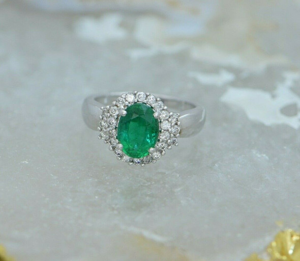 Superb 14K WG Oval Emerald Faceted and Diamond Halo Ring Size 7 Circa 1990
