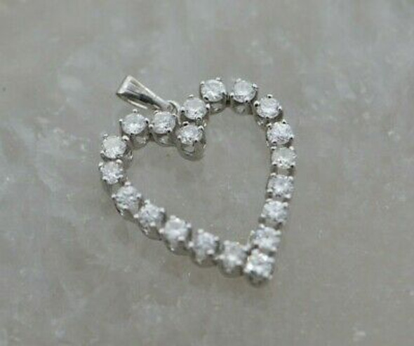 14K WG Diamond Heart Halo Pendant 1+ct tw High Quality GVS Circa 1970