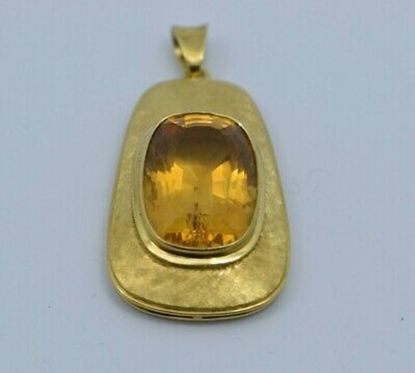 18K Yellow Gold Citrine Pendant 15ct est. Cushion Cut Circa 1970