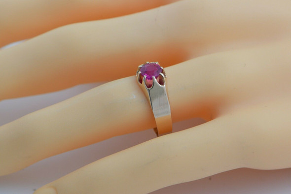 Vintage 10K Synthetic Pink Sapphire Ring Belcher Set Size 11 Circa 1940