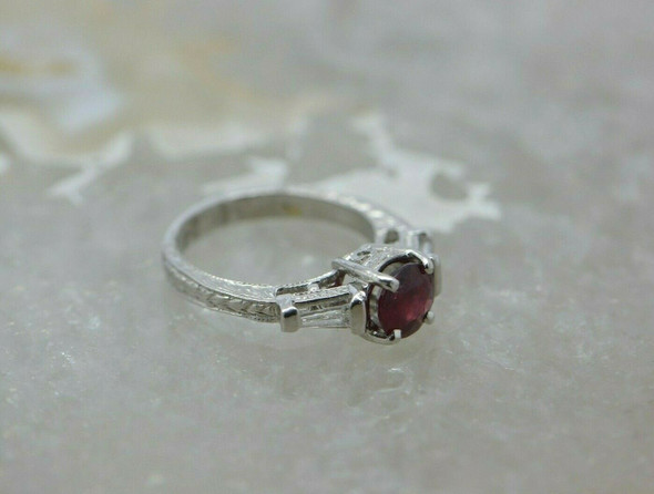 Platinum Ruby and Diamond Ring Deco Style Size 6