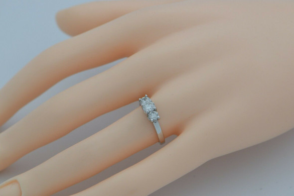 14K WG Diamond 3 Stone Engagement Ring 1ct Plus tw HSI 2 Size 6.75 Circa 1980