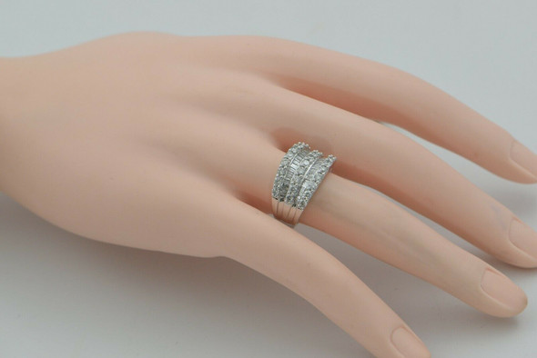 Diamond Ring 2+ ct tw 14K WG 5 Rows Baguette and Round Size 7