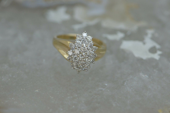 Vintage Diamond Cocktail Ring 14K YG Circa 1960 Size 7