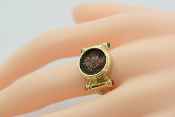 14K YG Ancient Roman Bronze Coin Ring Circa 300 AD Size 7.75 Circa 1980