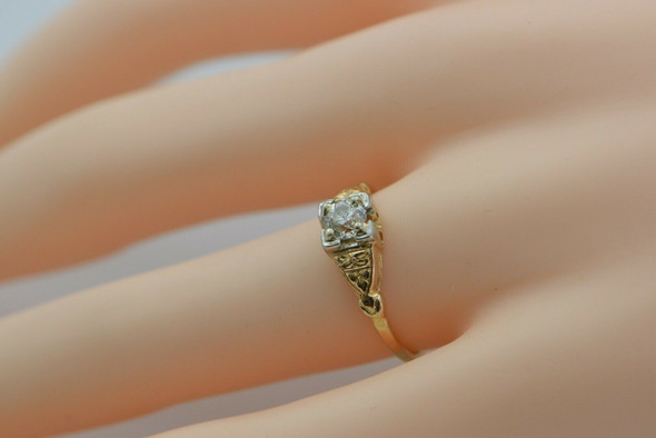 14K White and Yellow Gold Diamond Solitaire Ring Size 7 Circa 1930