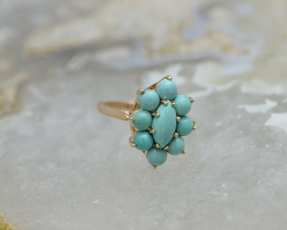 Vintage Turquoise Cabochon Ring 14K RG Circa 1960 Size 7