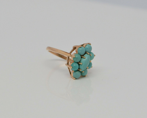 Vintage Turquoise Cabochon Ring 14K RG Circa 1960 Size 7