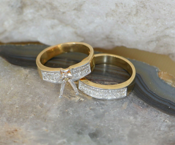 18K Yellow Gold Engagement Ring setting with Band to Match, Size 5.75