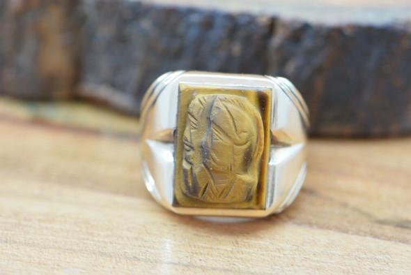 Vintage 10K YG Tiger Eye Cameo Ring Double Roman Soldier Size 9 Circa 1950