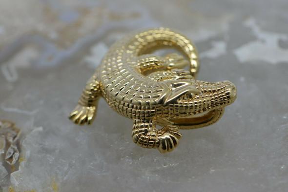 "14K Yellow Gold Alligator Pendant 1.5"" Across Hollow"