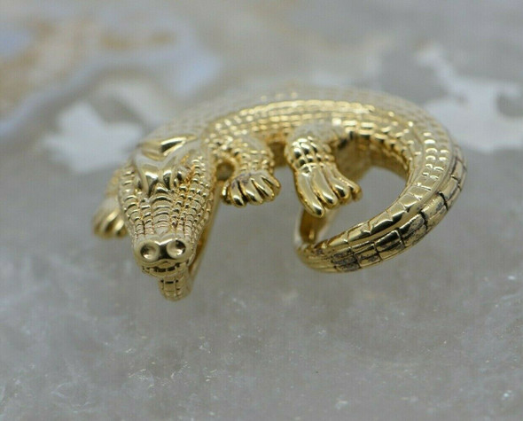 "14K Yellow Gold Alligator Pendant 1.5"" Across Hollow"