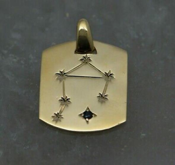 14K Yellow Gold Libra Pendant Sapphire Set Circa 1970